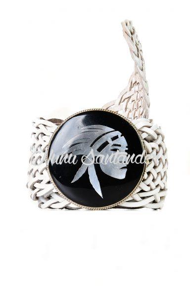 Cinturón trenzado cuero y piedra, cinturón boho mujer.