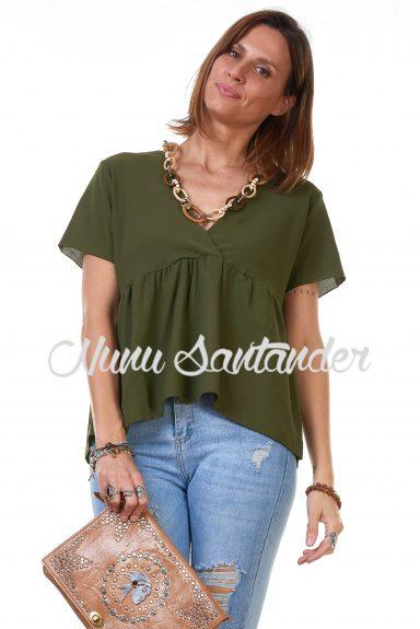blusa manga corta cruzada verde