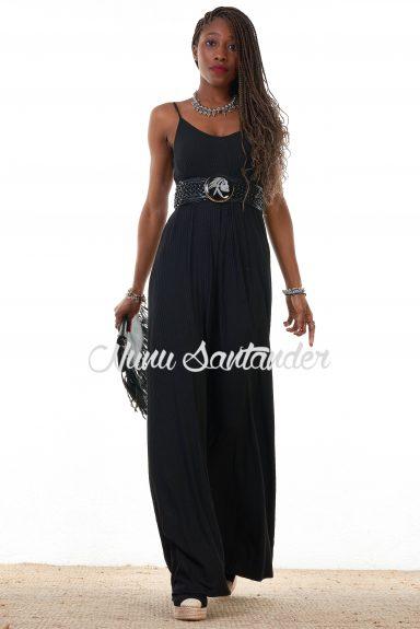 vestido canalé negro