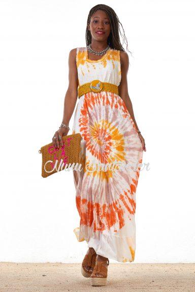 vestido tie dye naranja