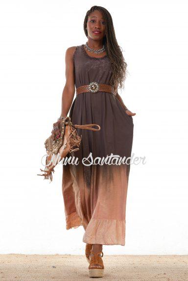 vestido degradado marrón