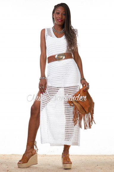 vestido crochet abierto blanco