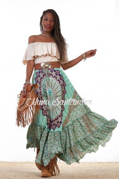 falda hippie verde