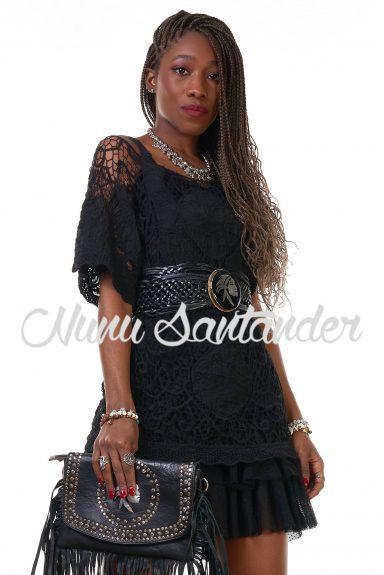 camiseta crochet negro