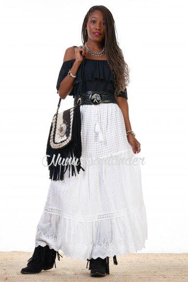 falda crochet blanco