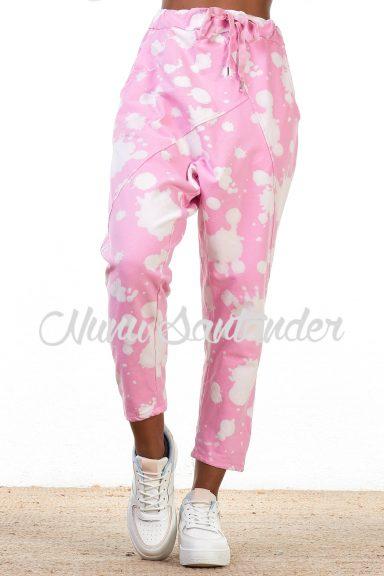 pantalón motas rosa