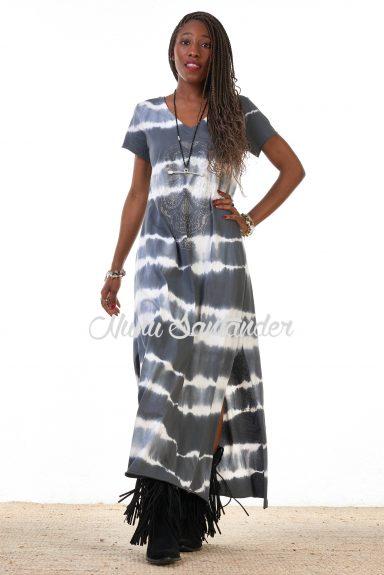 vestido tie dye gris