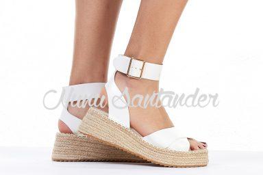 Sandalias de esparto color blanco