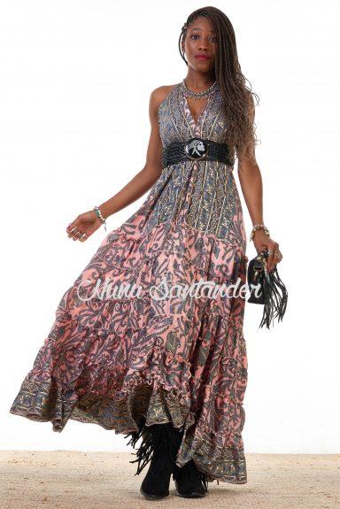 Vestido largo estampados florales y paisley