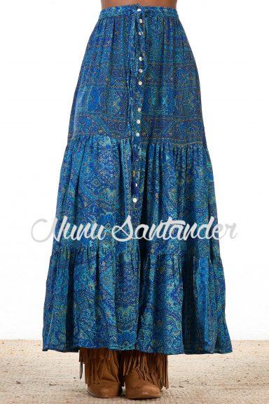 falda hippie azul