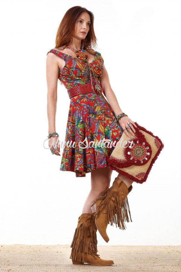 vestido estampado palmeras