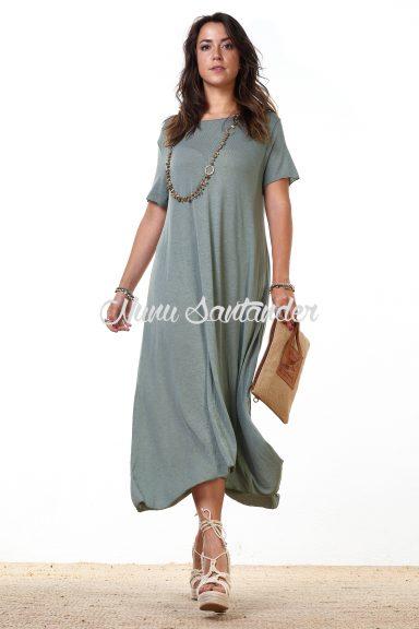 vestido largo manga corta