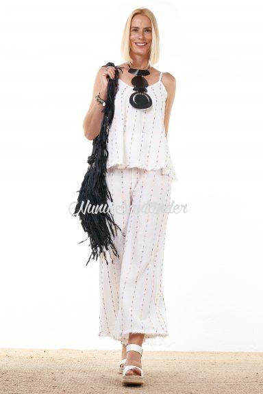 Pantalón largo de algodón y lino
