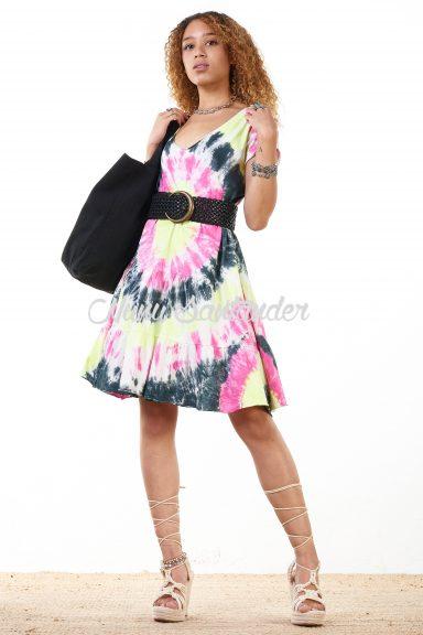 vestido corto tie-dye