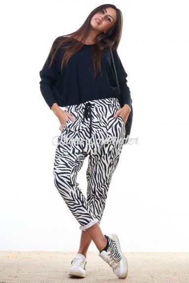 pantalon baggy estampado de cebra