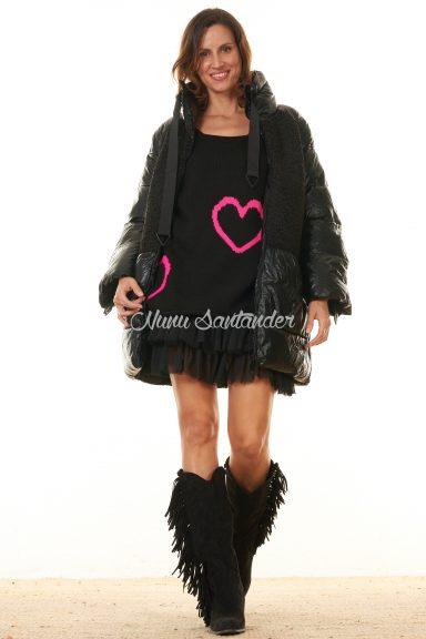 chaqueta negra acolchada